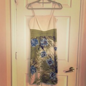 Ann Taylor silk dress floral green size 4 small